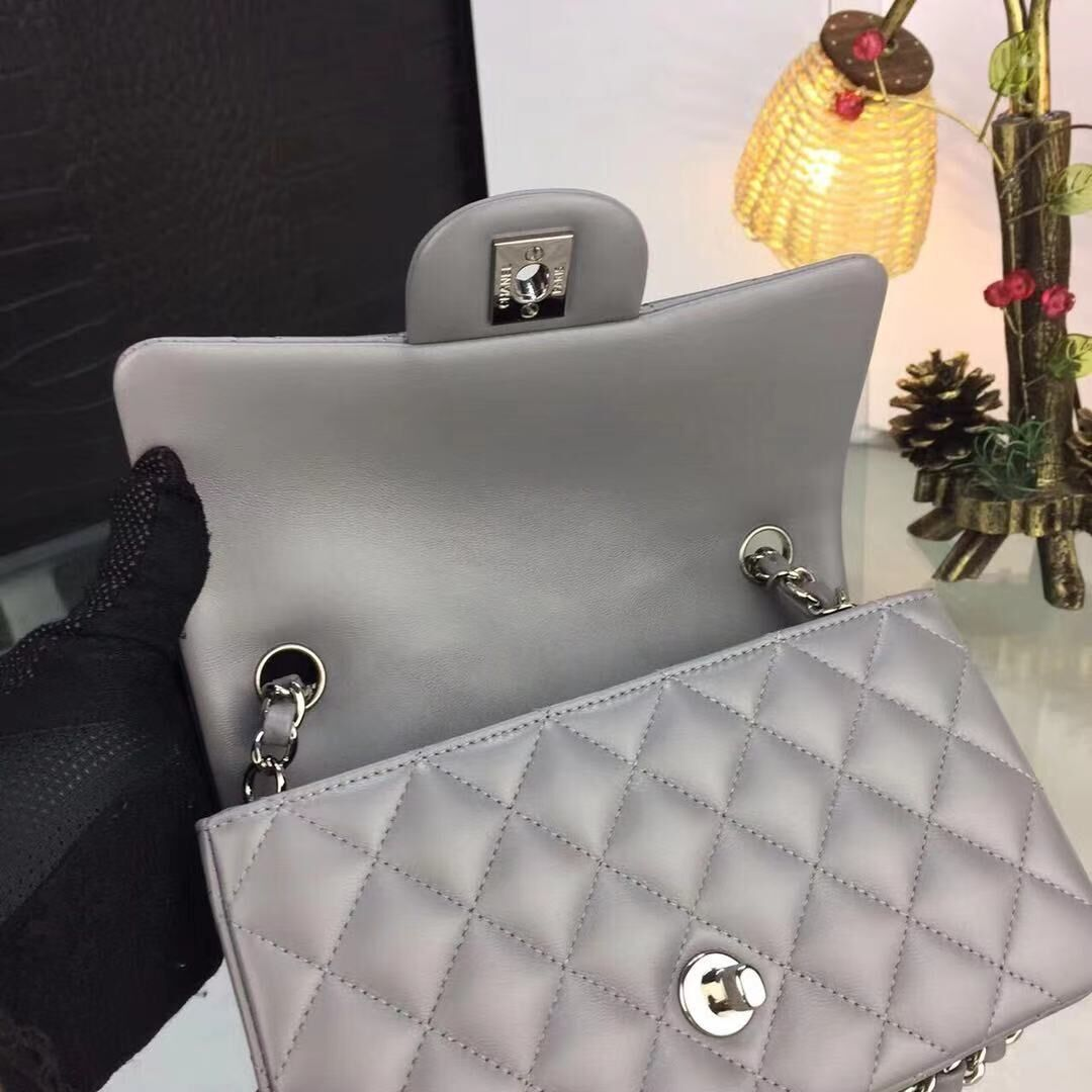 Chanel flap bag Gray A1116 Silver