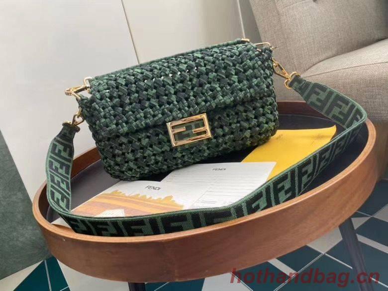 FENDI Baguette Shoulder Bag F0388 Green