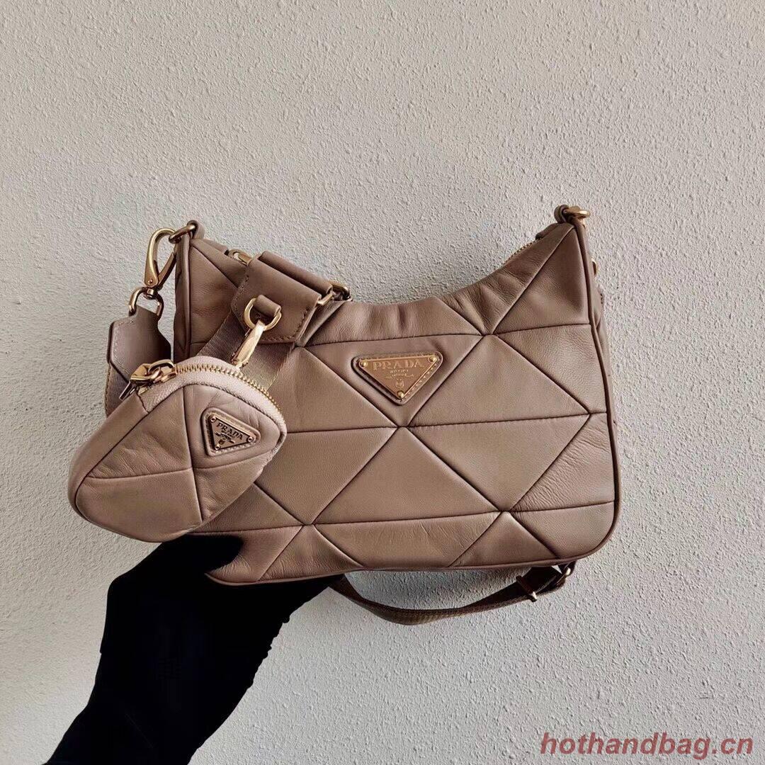 Prada Gaufre nappa leather shoulder bag 1BC151A  Biscuits