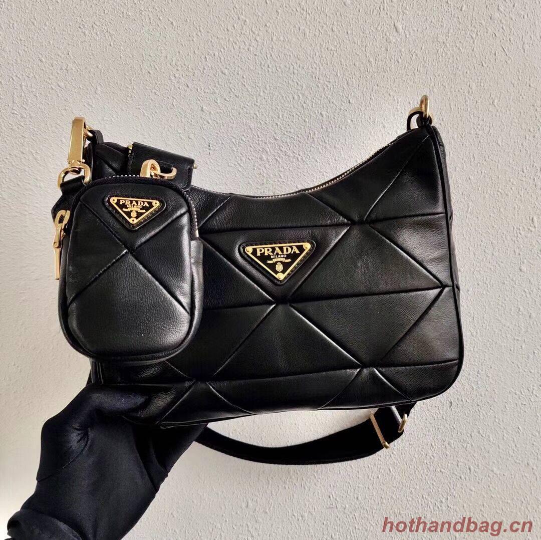 Prada Gaufre nappa leather shoulder bag 1BC151A black
