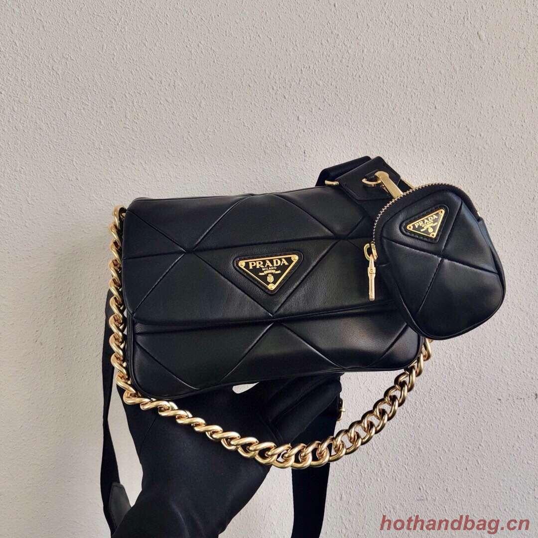 Prada Gaufre nappa leather shoulder bag 1BD292A black