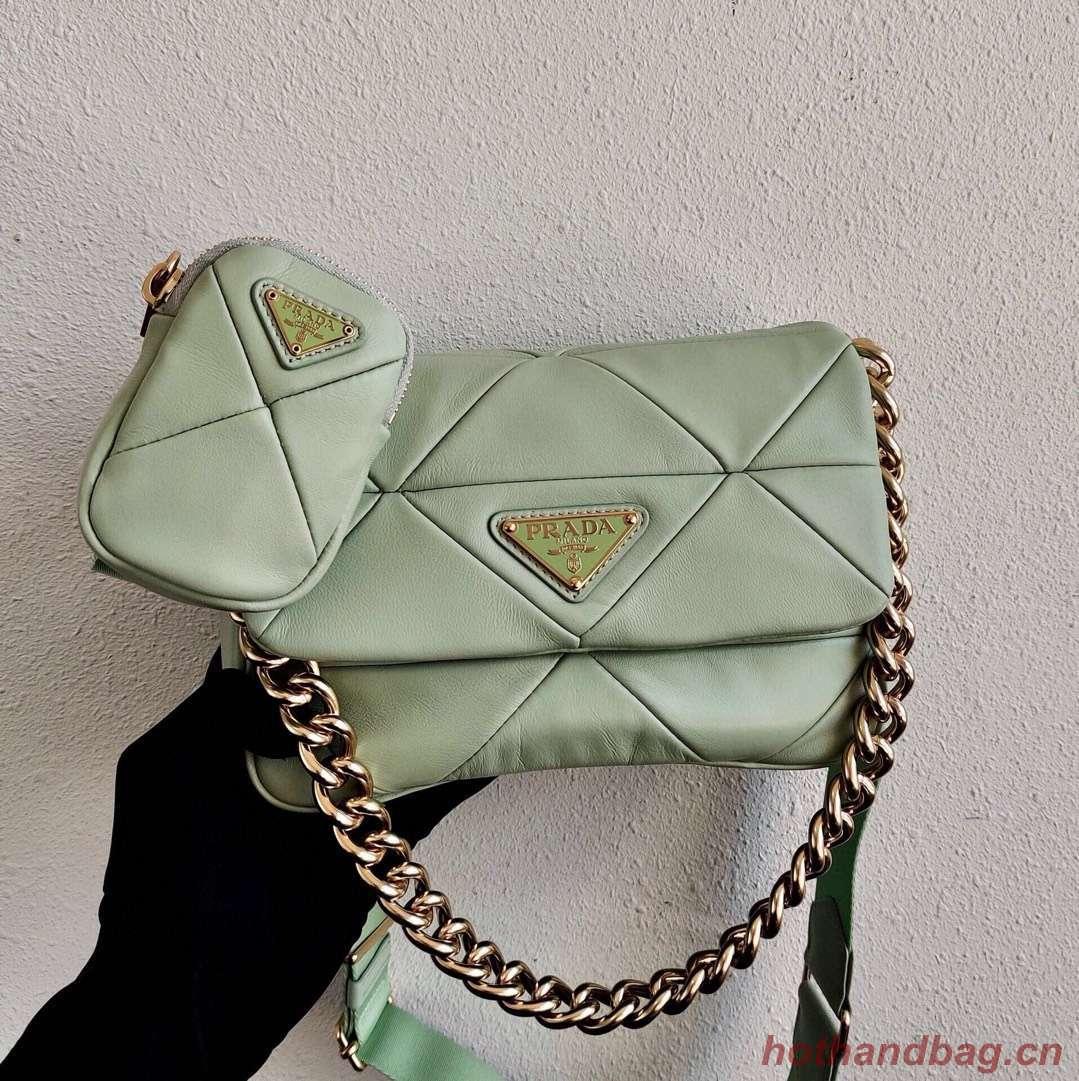 Prada Gaufre nappa leather shoulder bag 1BD292A light green