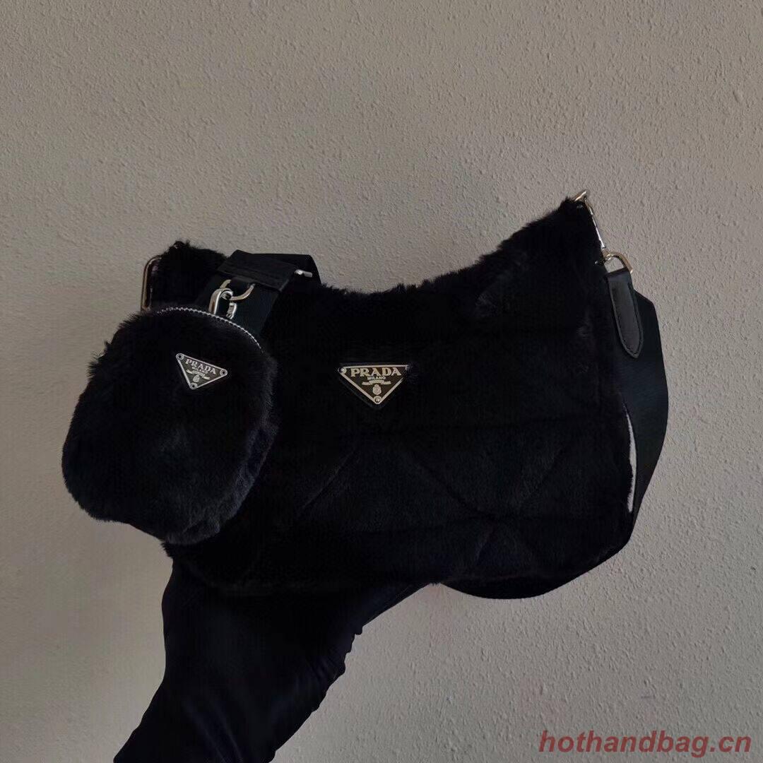 Prada Mink hair shoulder bag 1BC151M black