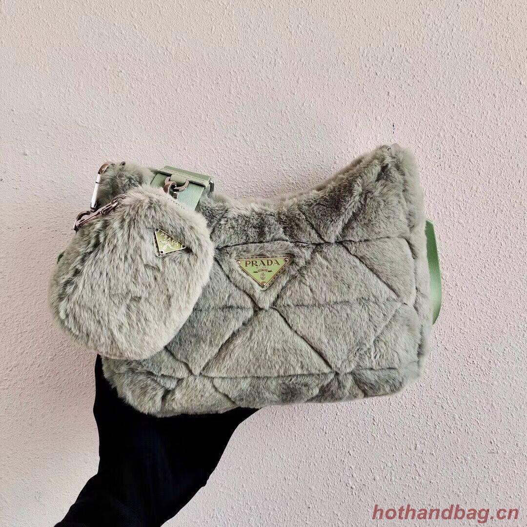 Prada Mink hair shoulder bag 1BC151M light green