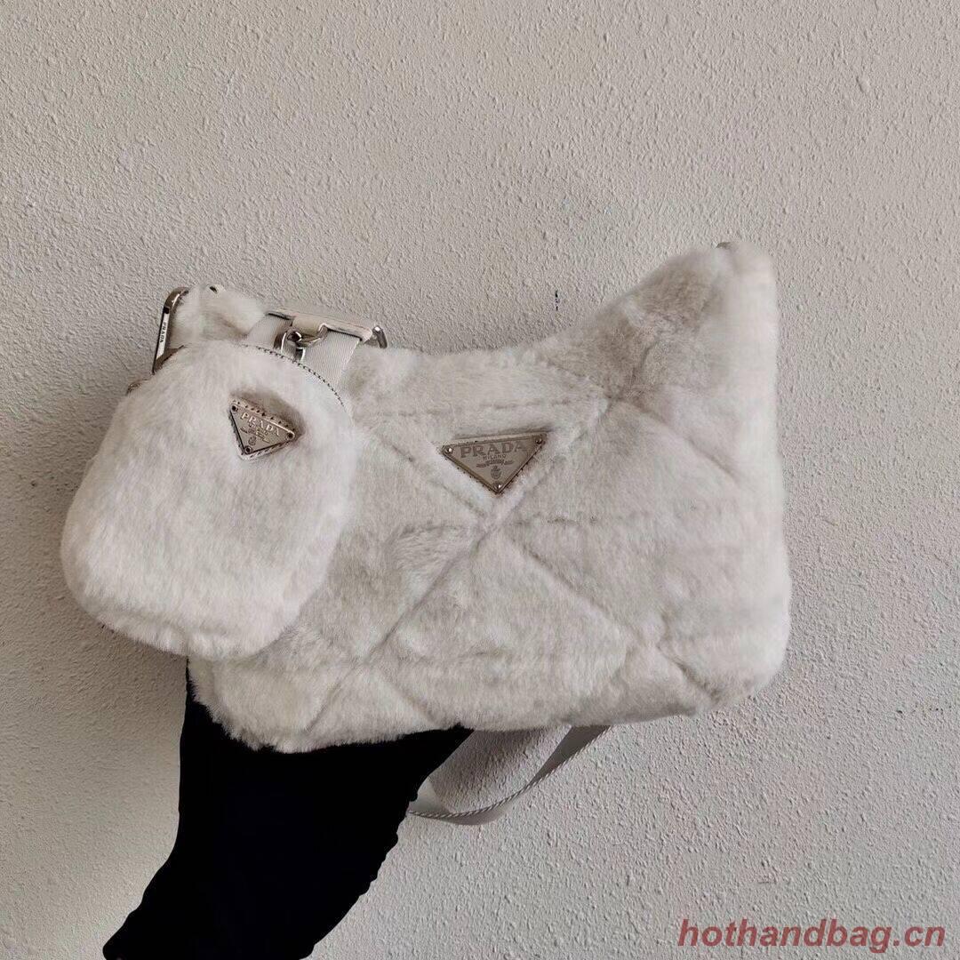 Prada Mink hair shoulder bag 1BC151M white