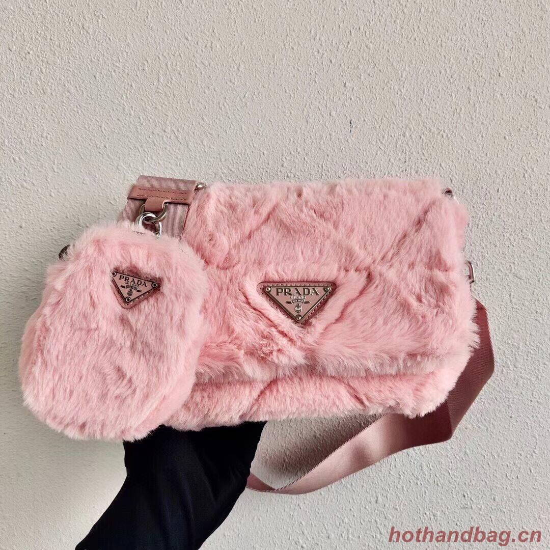 Prada Mink hair shoulder bag 1BC292M pink
