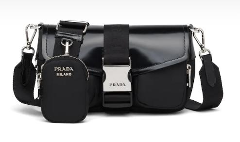 Prada Pocket nylon and brushed leather bag 1BD295 black