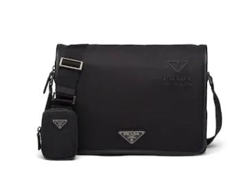 Prada Re-Nylon and Saffiano leather shoulder bag 2VD039 black