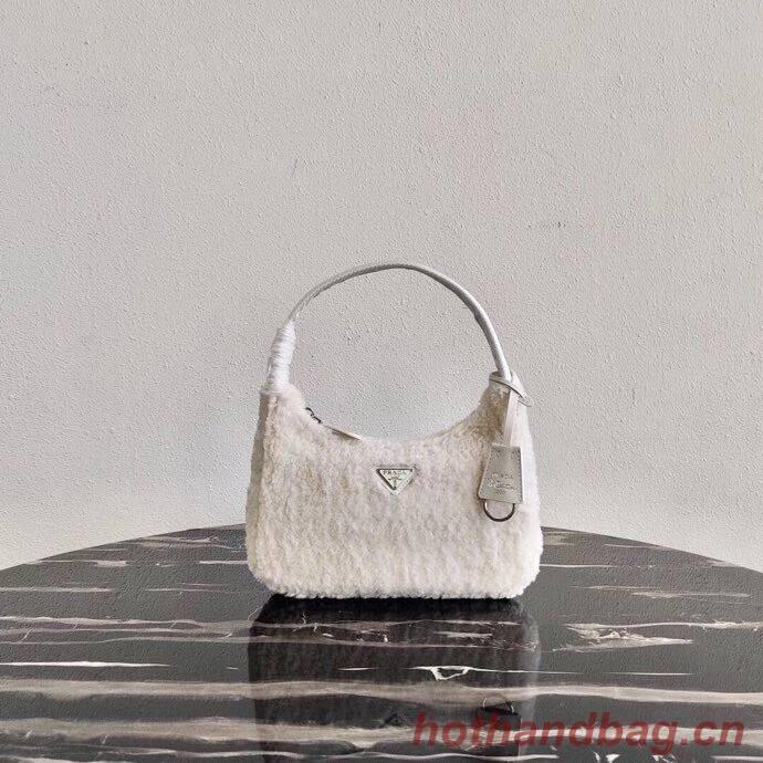 Prada Shearling tote mini-bag 1NE515 white