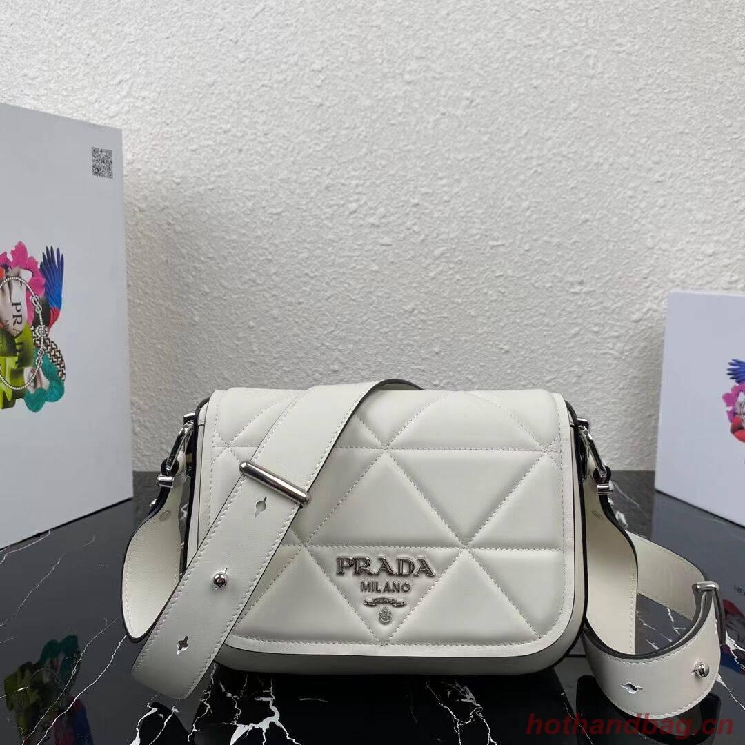 Prada System nappa leather patchwork bag 1BG283 white