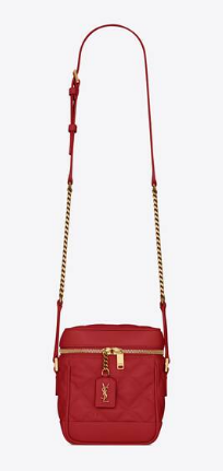 SAINT LAURENT 80S VANITY BAG IN CARRE-QUILTED GRAIN DE POUDRE EMBOSSED LEATHER 649779 red
