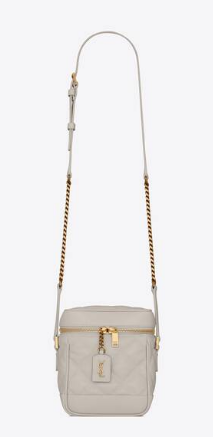 SAINT LAURENT 80S VANITY BAG IN CARRE-QUILTED GRAIN DE POUDRE EMBOSSED LEATHER 649779 white