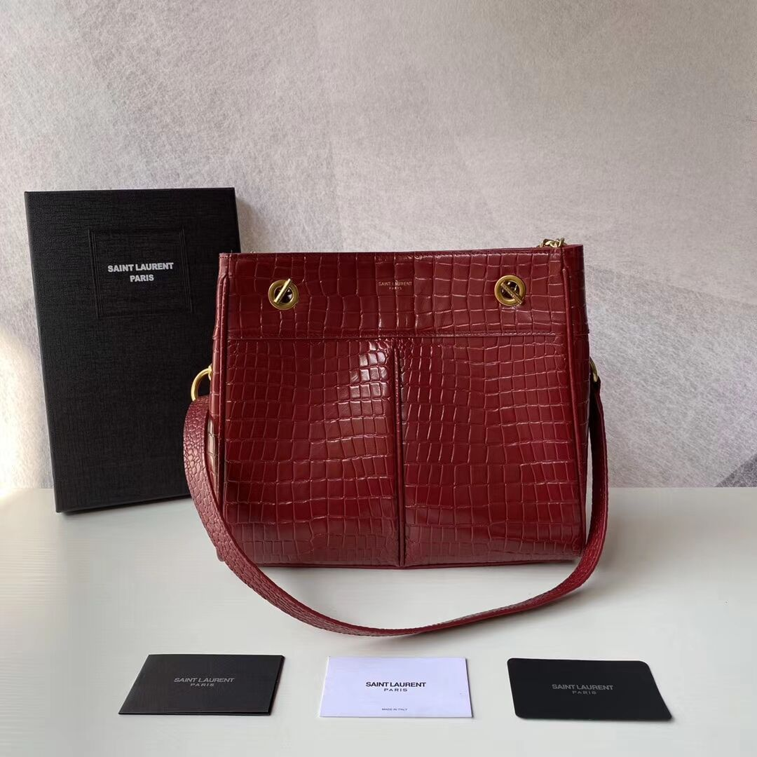 SAINT LAURENT CASSANDRA IN CROCODILE-EMBOSSED SHINY LEATHER Y862028 red
