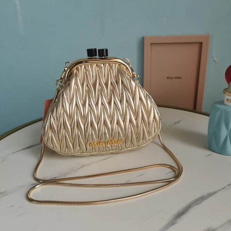 miu miu Matelasse Nappa Leather Shoulder Bag 5BB016L gold