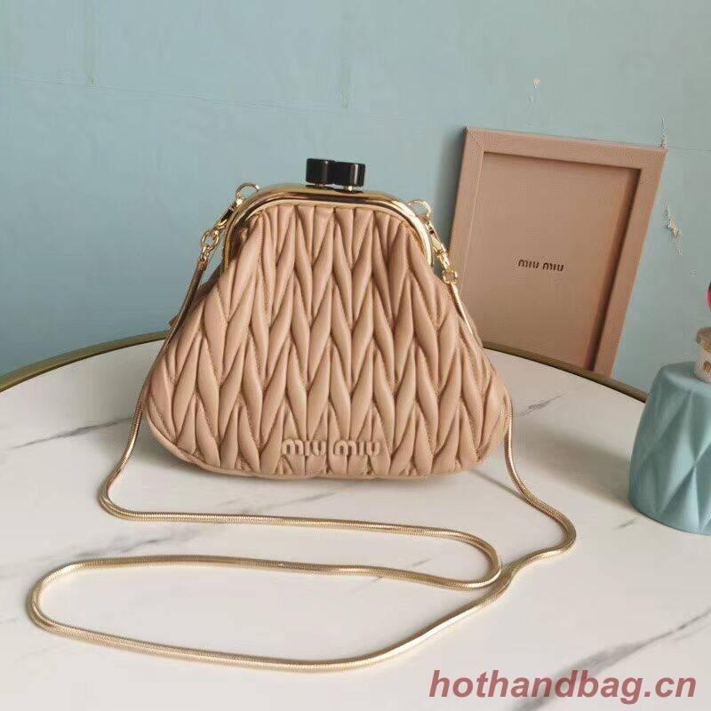 miu miu Matelasse Nappa Leather Shoulder Bag 5BB016L light pink