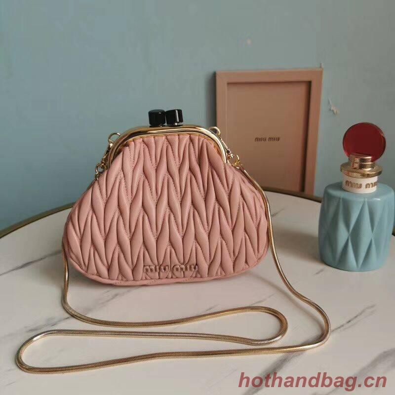 miu miu Matelasse Nappa Leather Shoulder Bag 5BB016L pink