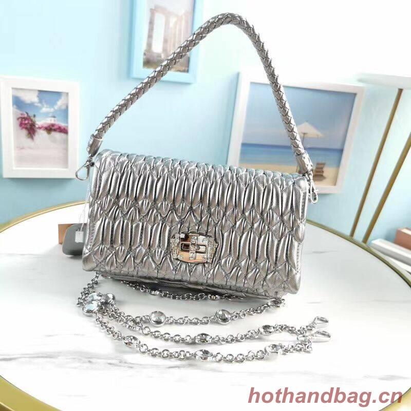 miu miu Matelasse Nappa Leather Shoulder Bag 5BP012M Silver