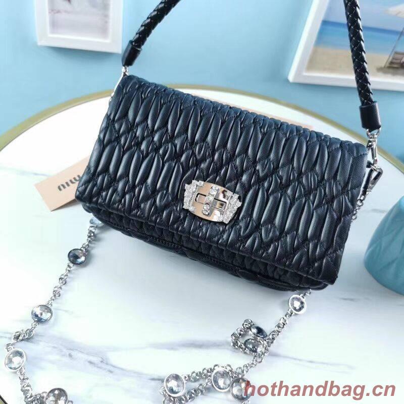 miu miu Matelasse Nappa Leather Shoulder Bag 5BP012M black