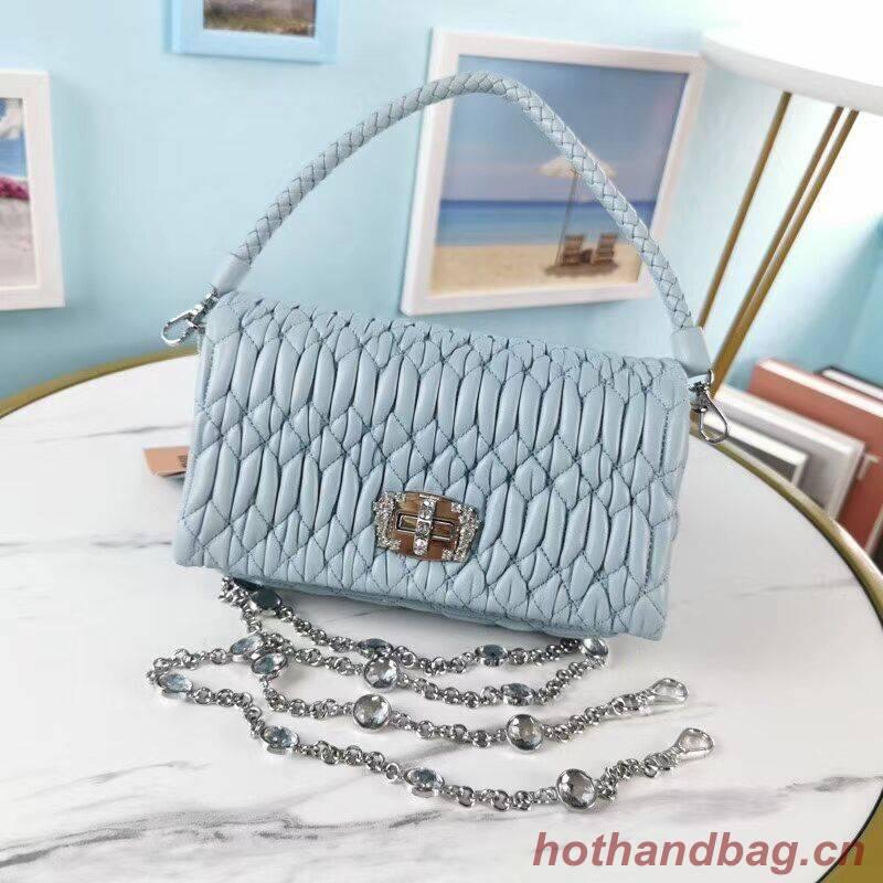 miu miu Matelasse Nappa Leather Shoulder Bag 5BP012M light blue