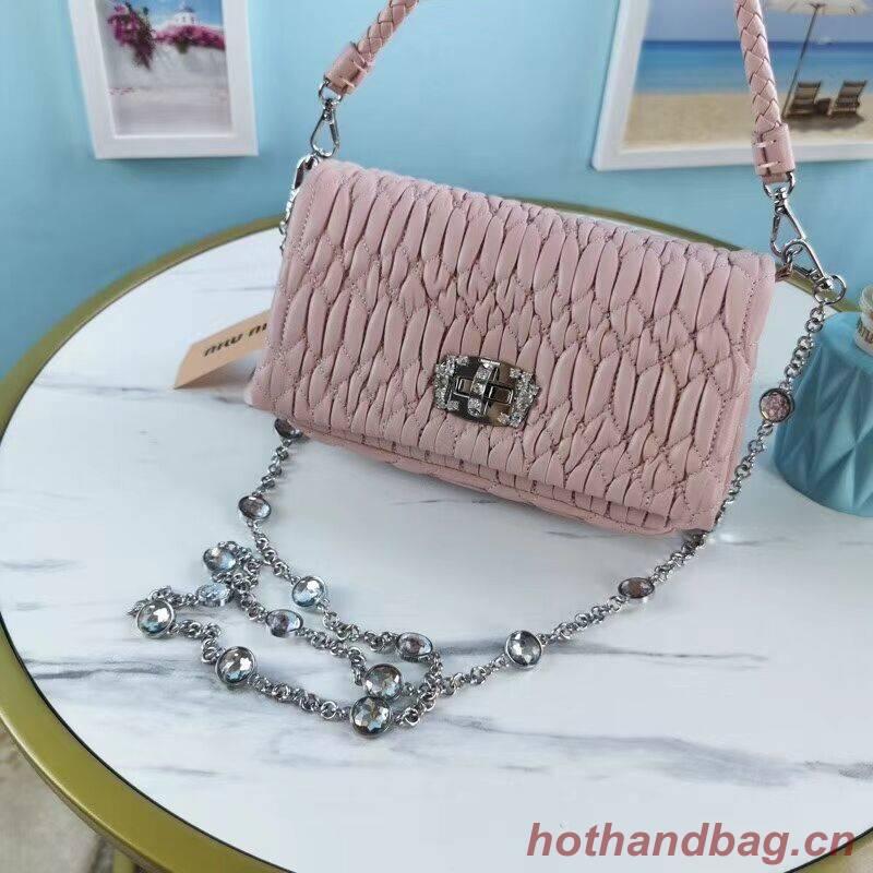 miu miu Matelasse Nappa Leather Shoulder Bag 5BP012M pink