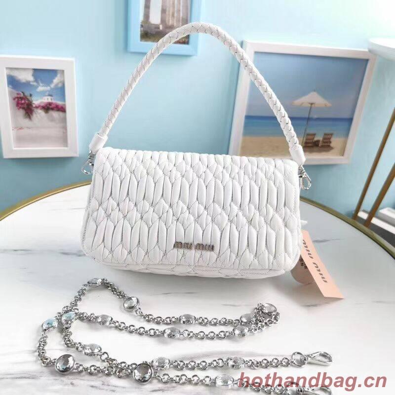 miu miu Matelasse Nappa Leather Shoulder Bag 5BP012M white