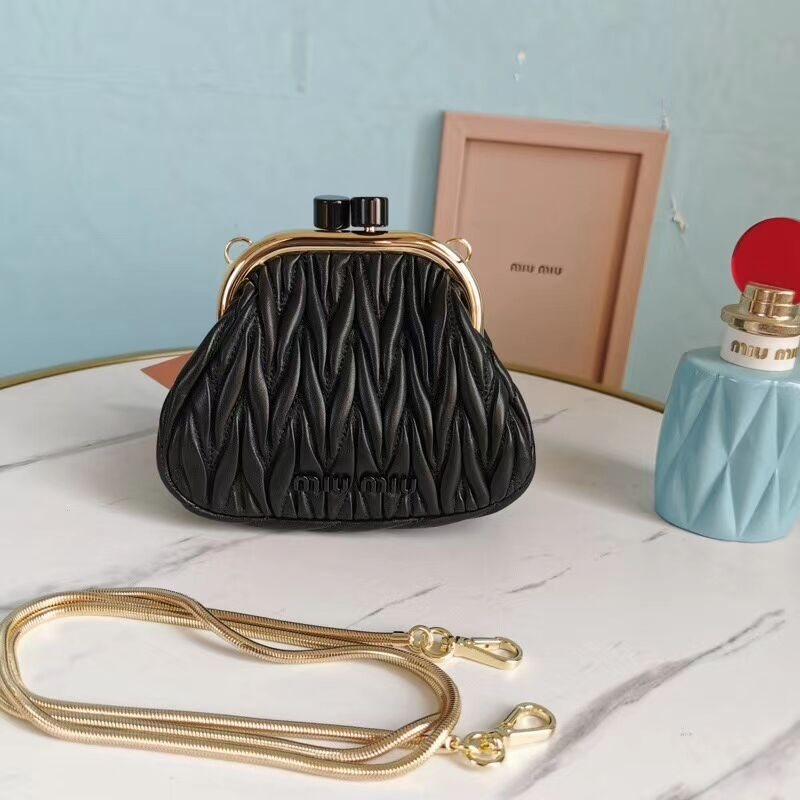 miu miu Matelasse Nappa Leather mini Shoulder Bag 5BB017S black