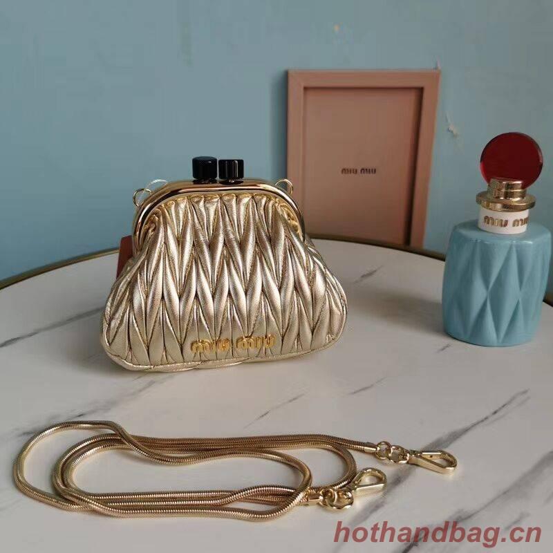 miu miu Matelasse Nappa Leather mini Shoulder Bag 5BB017S gold