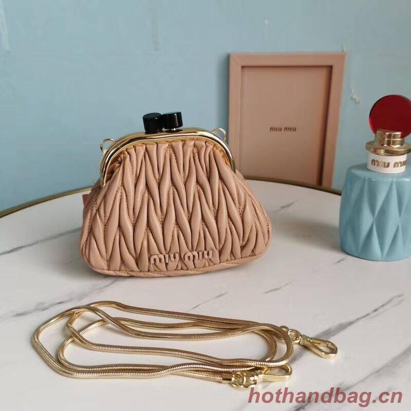 miu miu Matelasse Nappa Leather mini Shoulder Bag 5BB017S light pink