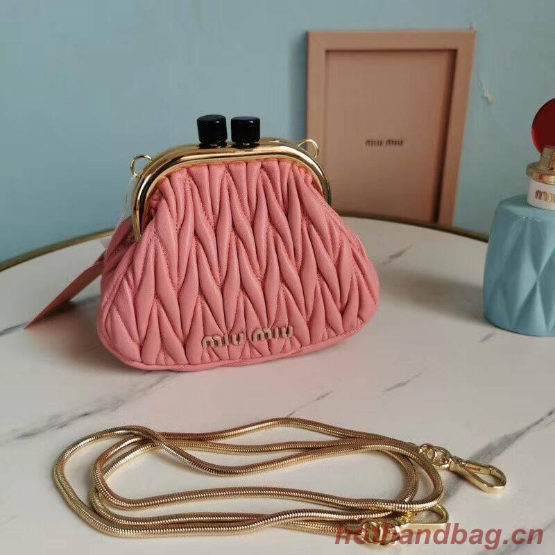 miu miu Matelasse Nappa Leather mini Shoulder Bag 5BB017S pink