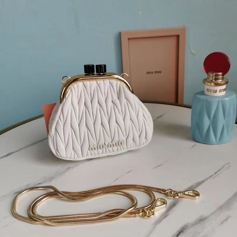 miu miu Matelasse Nappa Leather mini Shoulder Bag 5BB017S white