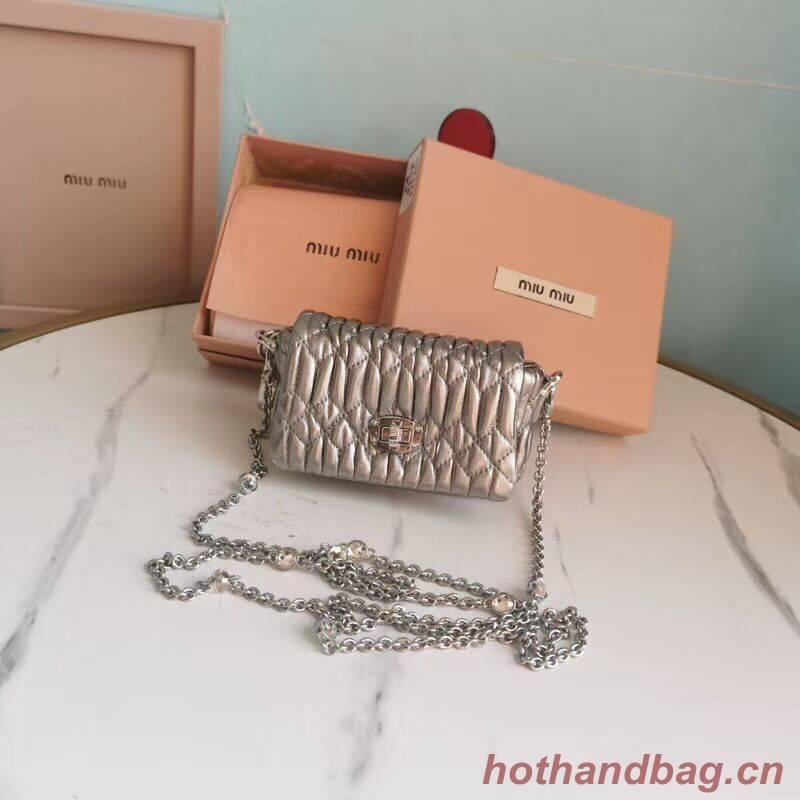 miu miu Matelasse Nappa Leather mini Shoulder Bag 5TT124 Silver