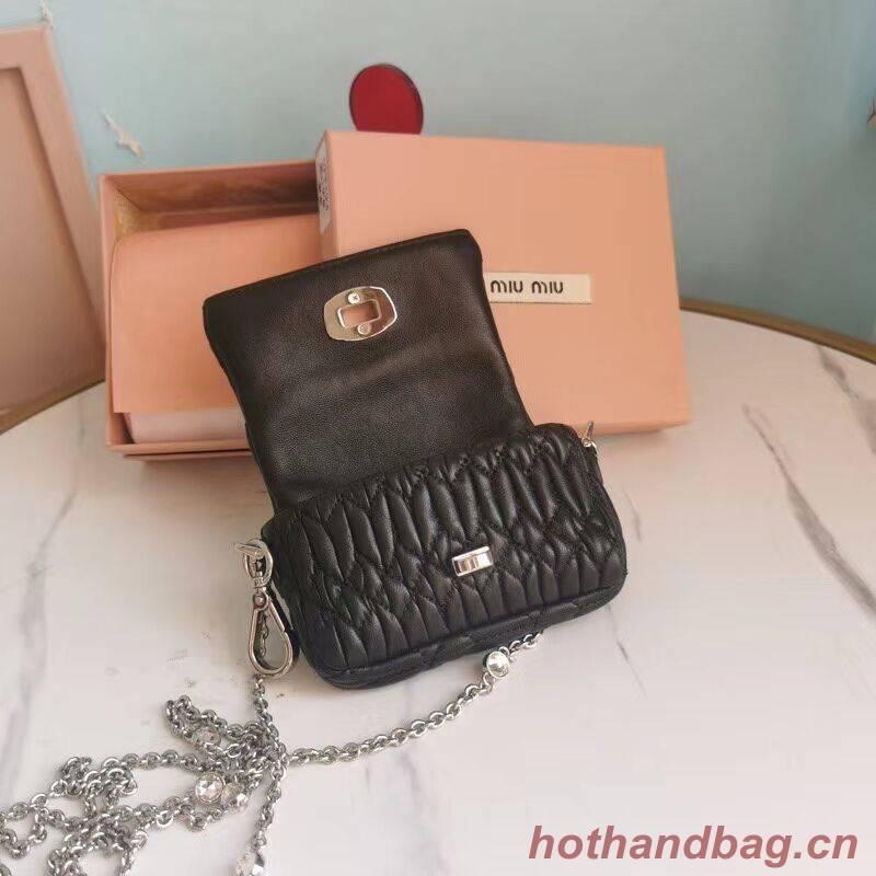 miu miu Matelasse Nappa Leather mini Shoulder Bag 5TT124 black