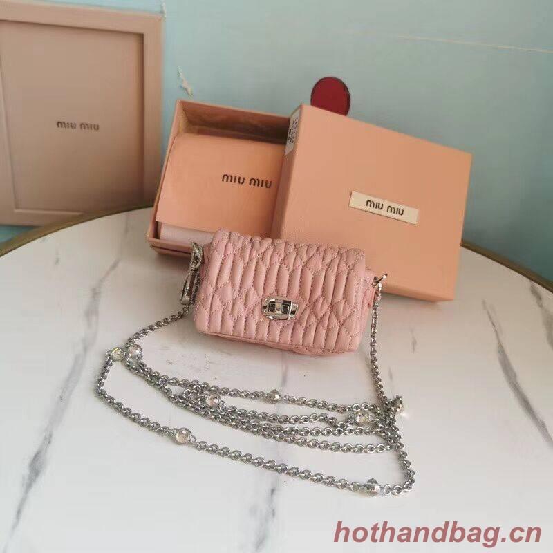 miu miu Matelasse Nappa Leather mini Shoulder Bag 5TT124 pink