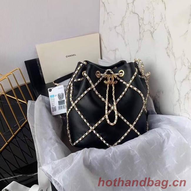 Chanel drawstring bag Lambskin AS2386 black & white
