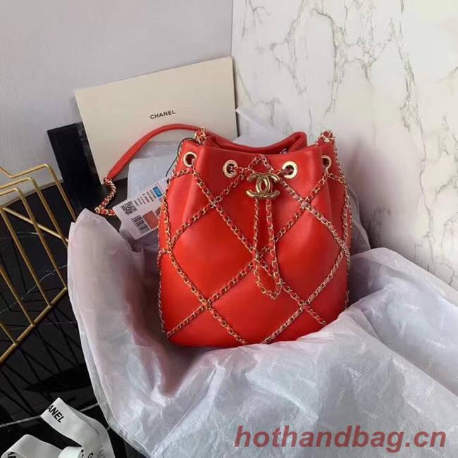 Chanel drawstring bag Lambskin AS2386 red