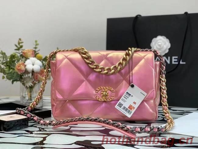 chanel 19 large flap bag Iridescent Calfskin&Gold-Tone AS1162 Pink