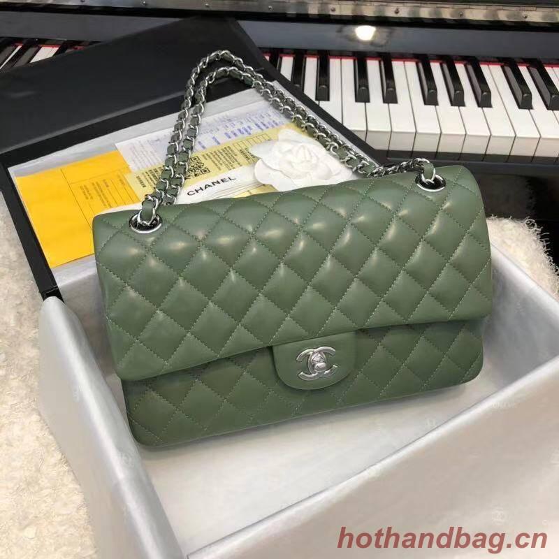 CHANEL Classic Handbag Lambskin A1112 green