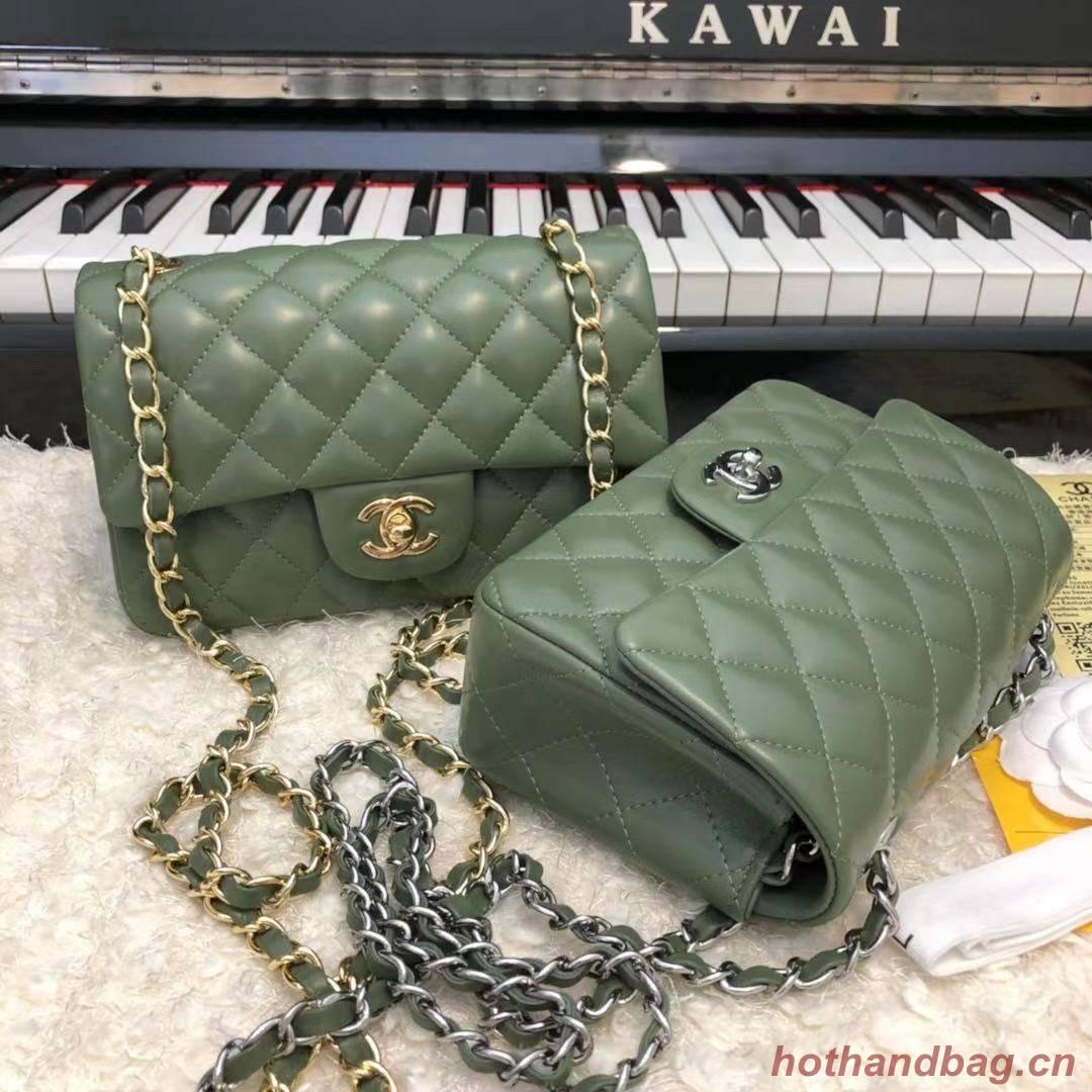 CHANEL Classic Handbag Lambskin  A1116 green
