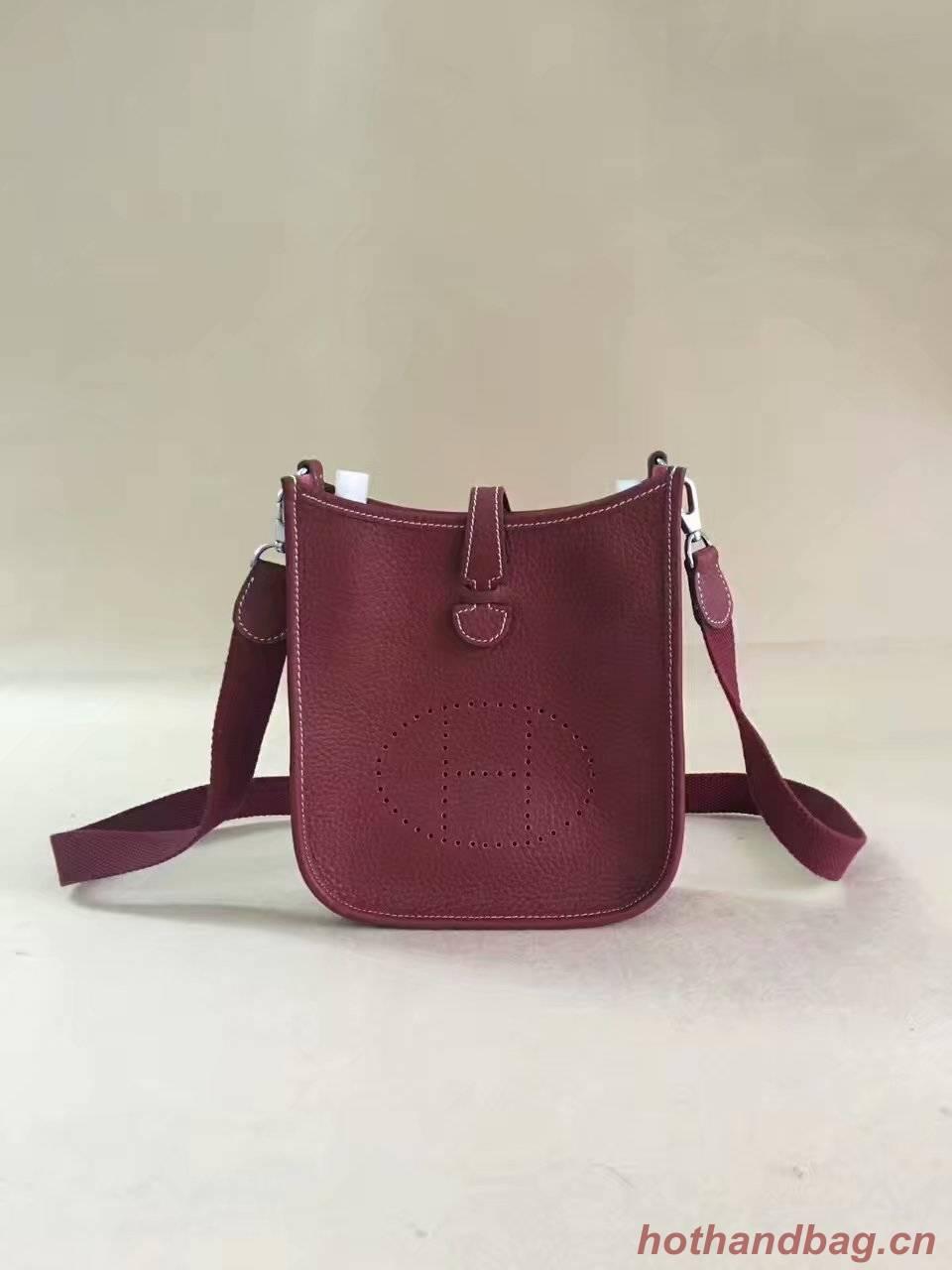 Hermes Evelyne original togo leather mini Shoulder Bag H15698 Burgundy