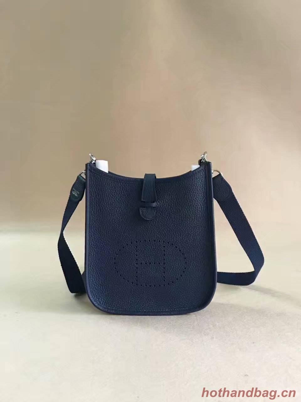 Hermes Evelyne original togo leather mini Shoulder Bag H15698 dark blue
