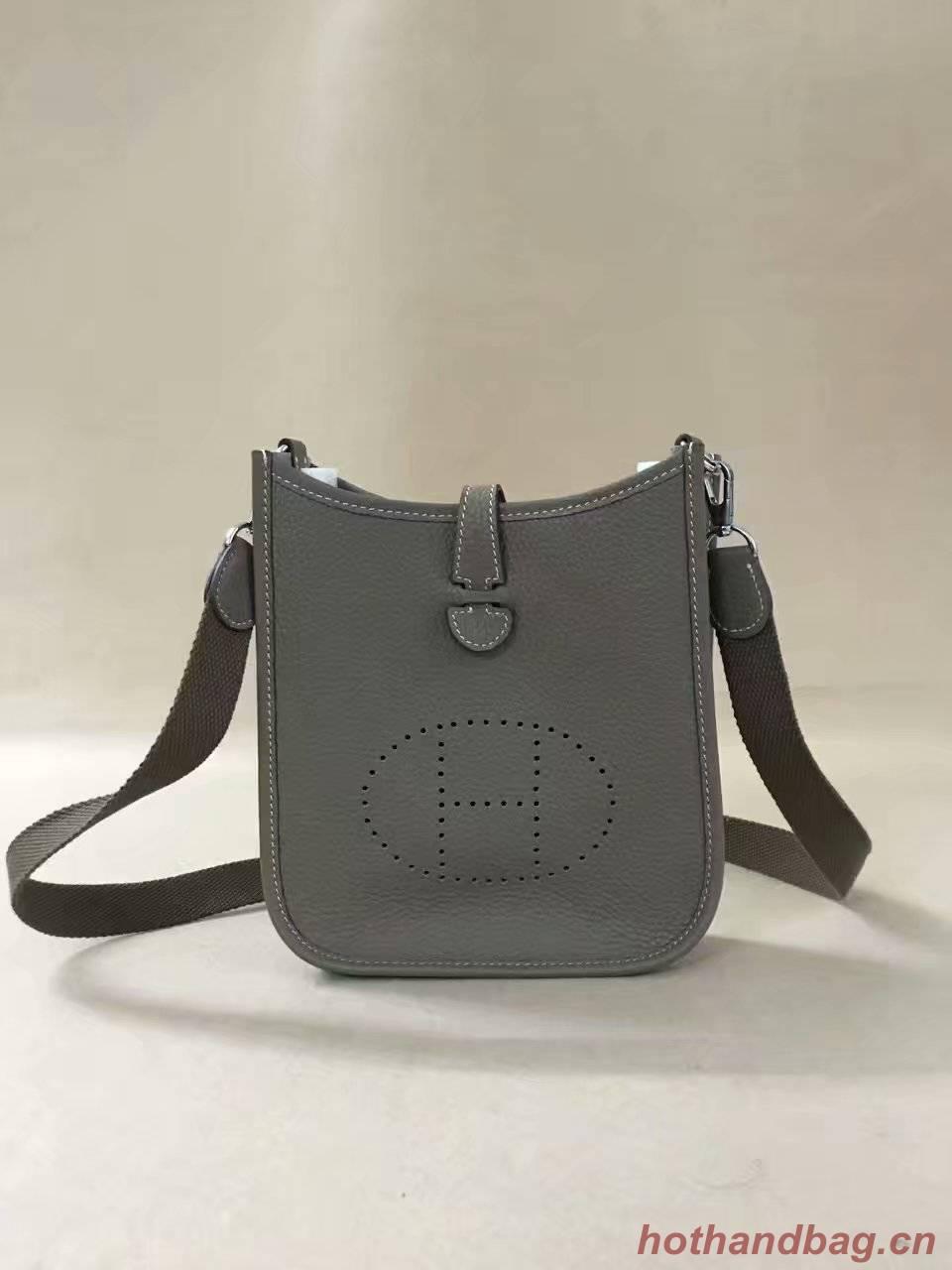 Hermes Evelyne original togo leather mini Shoulder Bag H15698 dark grey