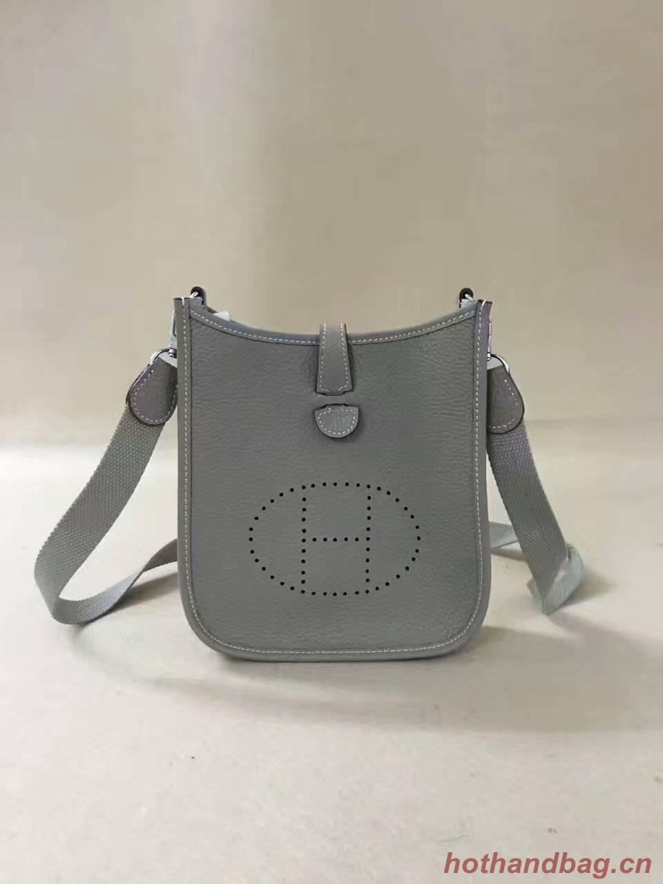 Hermes Evelyne original togo leather mini Shoulder Bag H15698 light grey