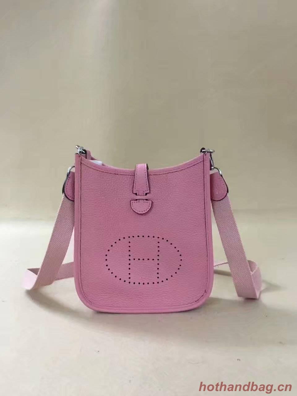 Hermes Evelyne original togo leather mini Shoulder Bag H15698 pink