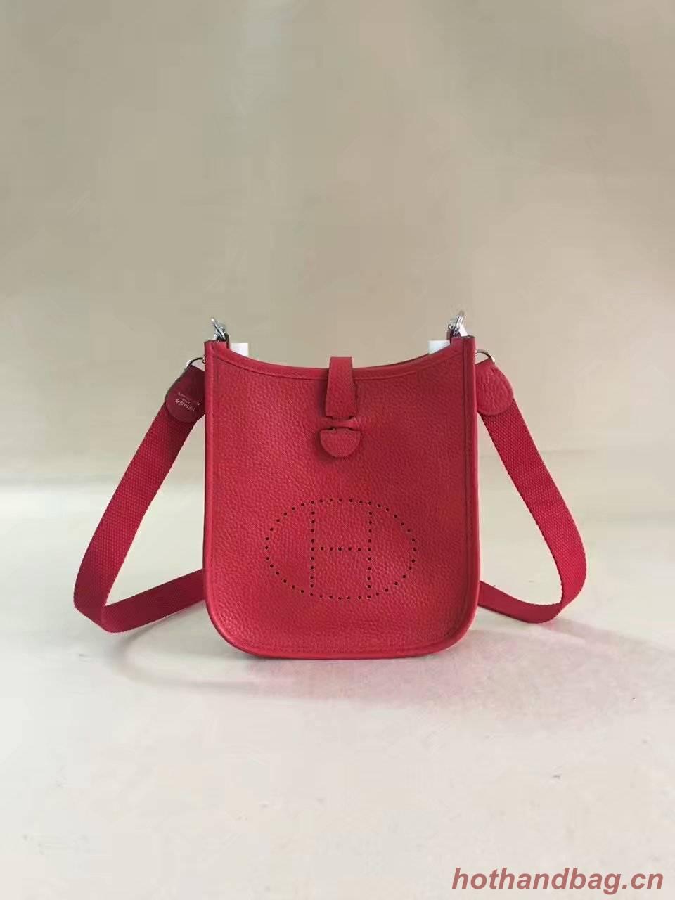 Hermes Evelyne original togo leather mini Shoulder Bag H15698 red