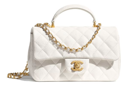 CHANEL mini flap bag with top handle AS2431 White
