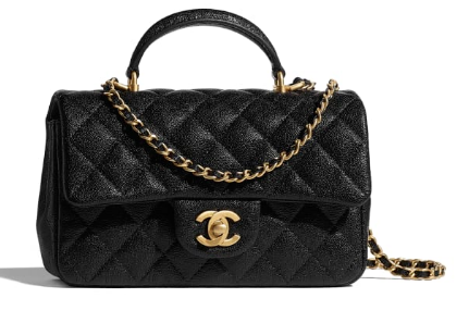 CHANEL mini flap bag with top handle AS2431 black