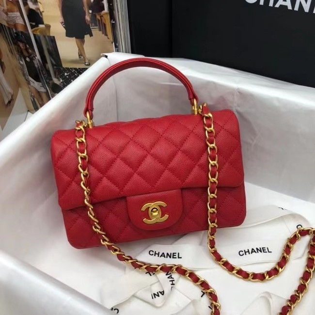 CHANEL mini flap bag with top handle AS2431 red