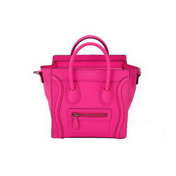 Hot Style Celine Luggage Calfskin Leather Nano Tote Bag Rosy