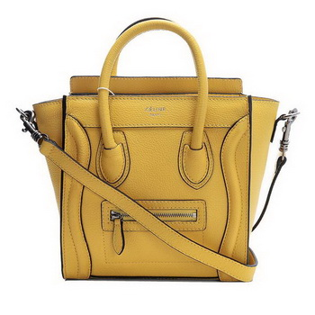Hot Sell  Celine Luggage Nano Boston Bag Fluorescence Original Leather Yellow