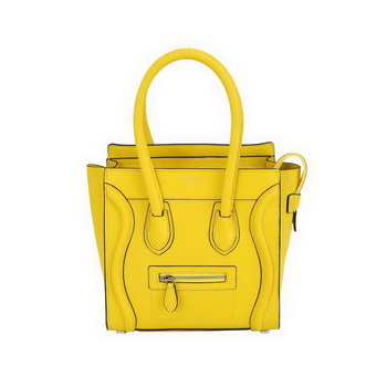 Hot Sell Celine Luggage Micro Boston Bag Fluorescence Calfskin Leather Yellow